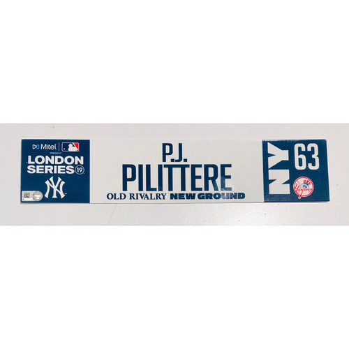 Photo of 2019 London Series - Game Used Locker Tag - P.J. Pilittere, New York Yankees vs Boston Red Sox - 6/30/2019