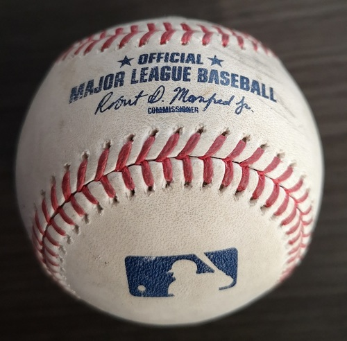 Photo of Authenticated Game Used Baseball: Single by Michael Brantley against Neil Ramirez (Aug 30, 19 vs HOU). Top 7.