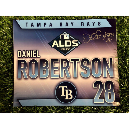 Photo of Team Issued ALDS Autographed Locker Tag: Daniel Robertson