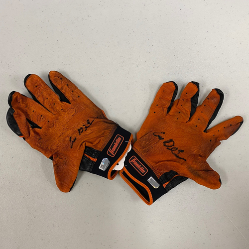 Photo of Autographed Batting Gloves - signed by #8 Alex Dickerson - Black & Orange Franklin Batting Gloves