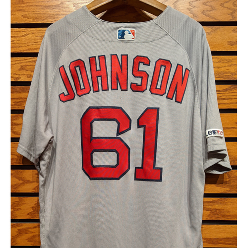 Photo of Brian Johnson #61 Game Used Road Gray Jersey