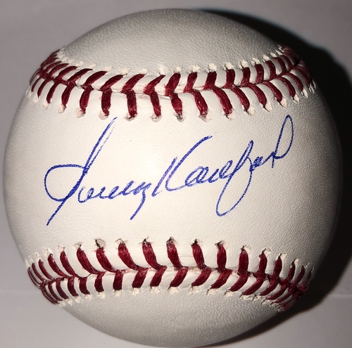 Photo of Sandy Koufax Autographed Baseball