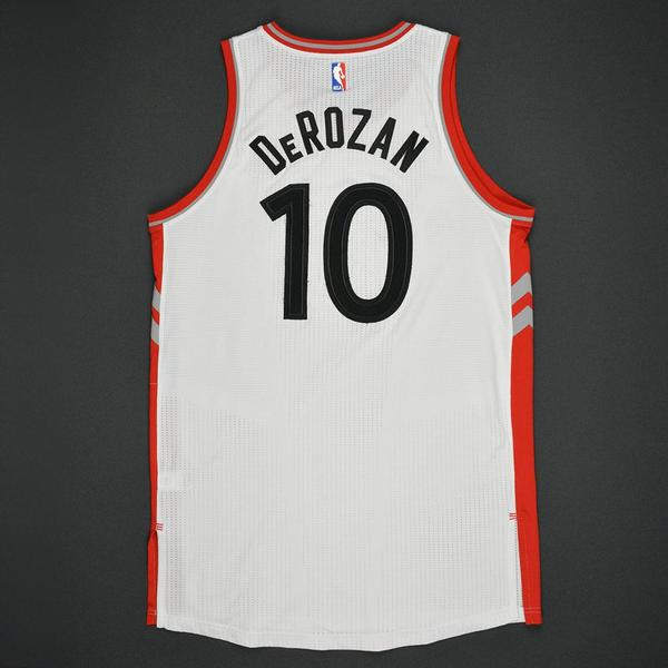 af912adf17e DeMar DeRozan - Toronto Raptors - White Playoffs Game-Worn Jersey ...