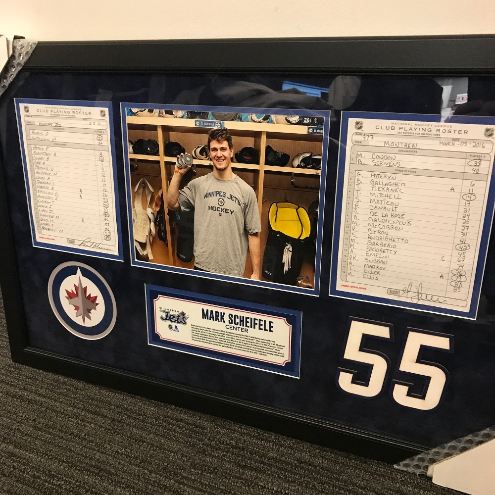 WINNIPEG JETS FRAMED ORIGINAL LINE-UP CARDS FROM MARCH 5, 2016 VS. MONTREAL CANADIENS - MARK SCHEIFELE'S 1ST CAREER HAT-TRICK