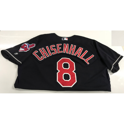 Photo of Lonnie Chisenhall Game-Used 2018 Opening Day Jersey (Road 3/29 @ SEA)