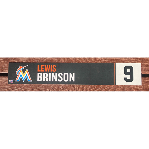 Photo of Game-Used Locker Tag: Lewis Brinson