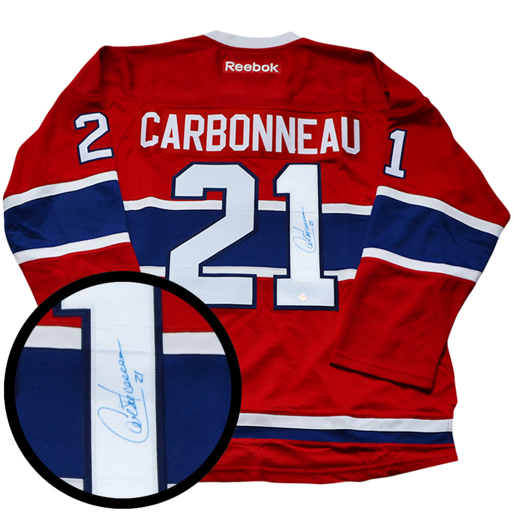 Guy Carbonneau Signed Jersey Canadiens Replica Red 2007-2015 Reebok