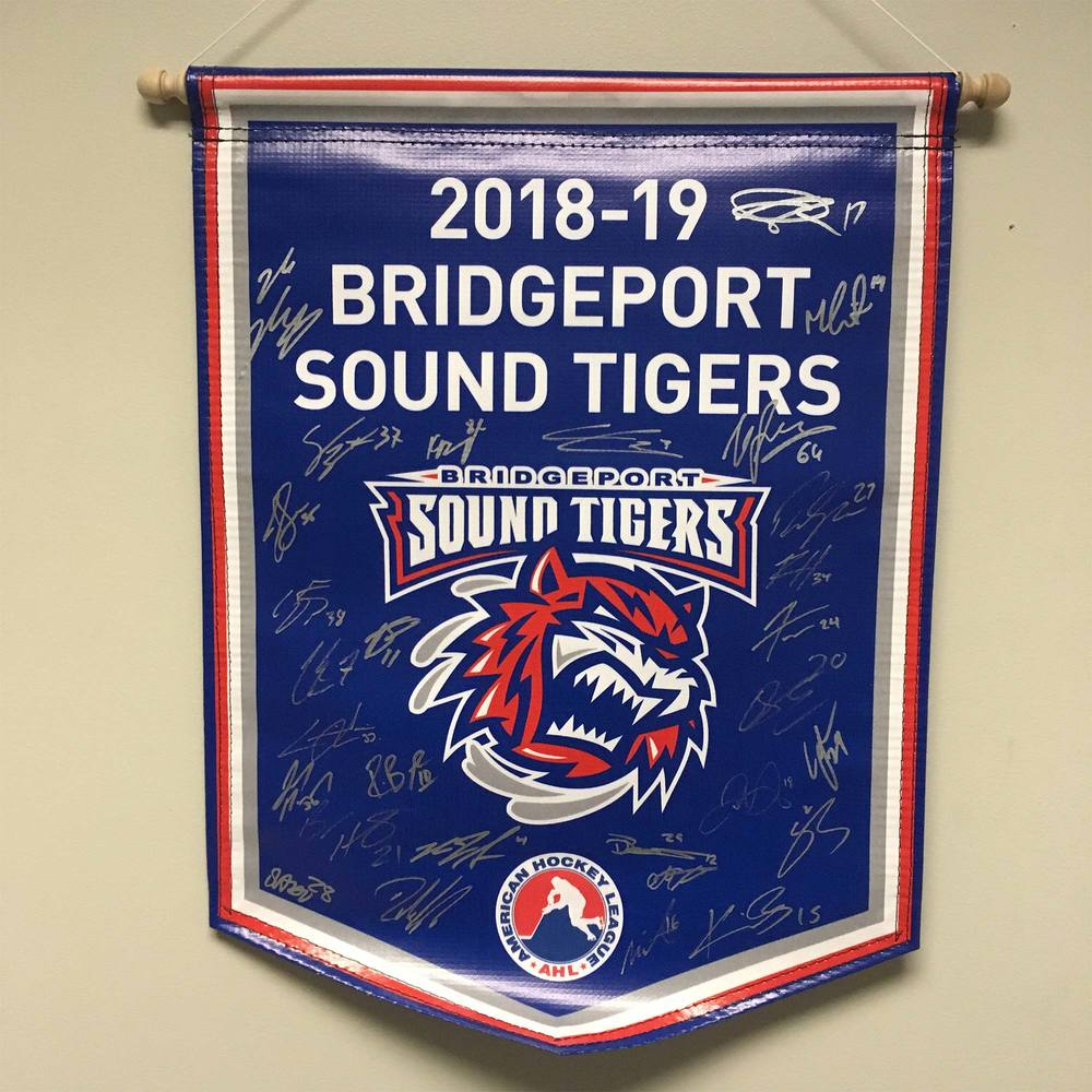 2018-19 Bridgeport Sound Tigers Team-Signed Banner