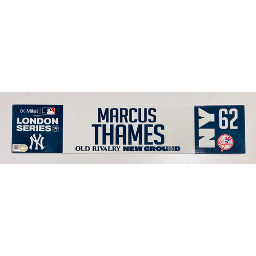 Photo of 2019 London Series - Game Used Locker Tag - Marcus Thames, New York Yankees vs Boston Red Sox - 6/30/2019