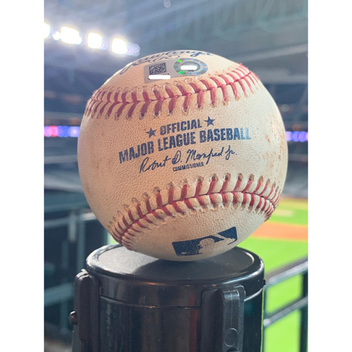 Photo of Game-Used Baseball Astros vs. Mariners: Justin Verlander to Austin Nola (Strikeout) to Dylan Moore (Pitch in Dirt) - 8/4/2019