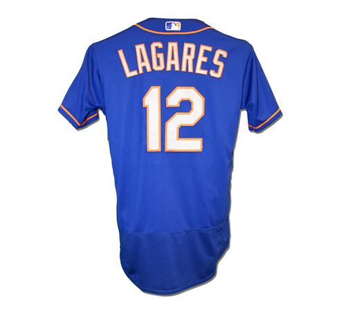 buy popular 5858e c9dc1 Mets Auctions | Juan Lagares #12 - Game Used Blue Alt. Road ...