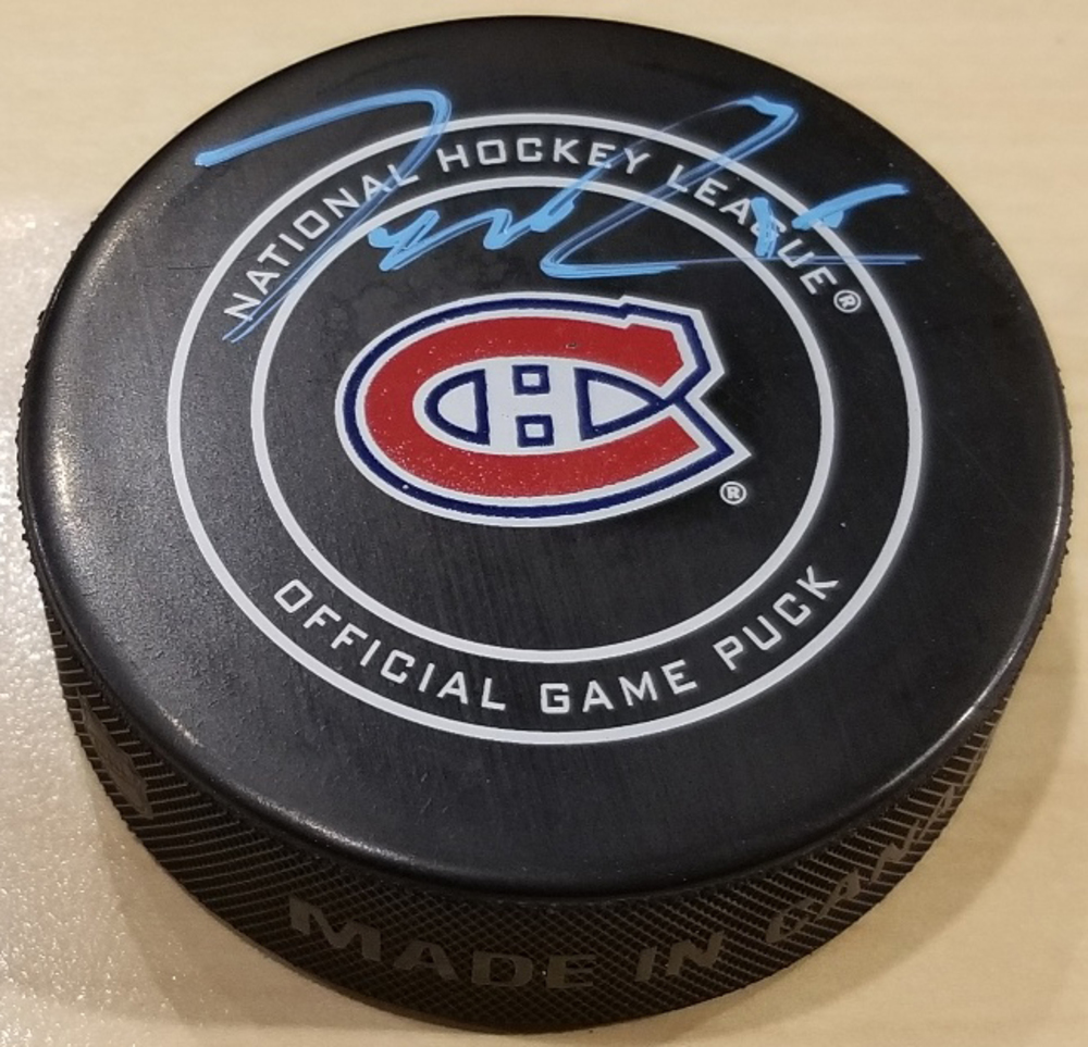 Jesperi Kotkaniemi Montreal Canadiens Autographed Game Model Hockey Puck *Autograph Slightly Streaky*