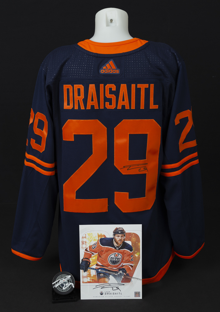Leon Draisaitl #29 - Ultimate Fan Autographed Memorabilia Collection Including Pro Jersey, Player Card & Official Game Puck!