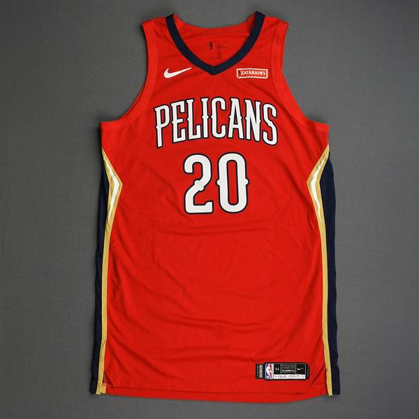 Image of Nicolo Melli - New Orleans Pelicans - Christmas Day' 19 - Game-Worn Statement Edition Jersey - Dressed, Did Not Play