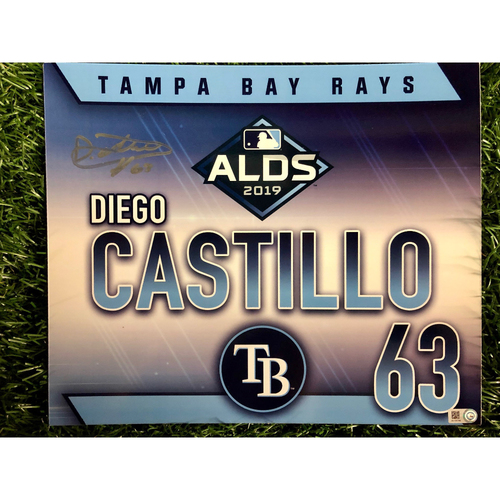 Photo of Game Used ALDS Locker Tag: Diego Castillo - October 7, 2019 v HOU