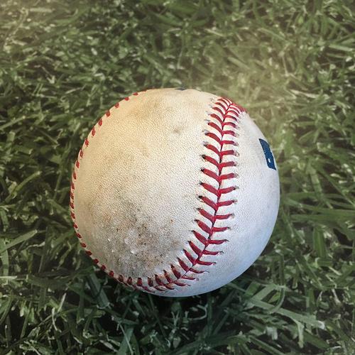 Photo of Game-Used Baseball STL@MIL 09/14/20 (Game 2 of Doubleheader) - Corbin Burnes - Brad Miller: Strikeout