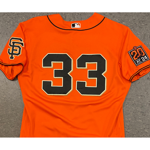 Photo of 2020 Game Used Orange Home Alt Jersey worn by #33 Darin Ruf on 7/31 vs. TEX (2-3, 2B, 3 RBI, R, BB) & 9/25 vs. SD GM 2 - Size 46