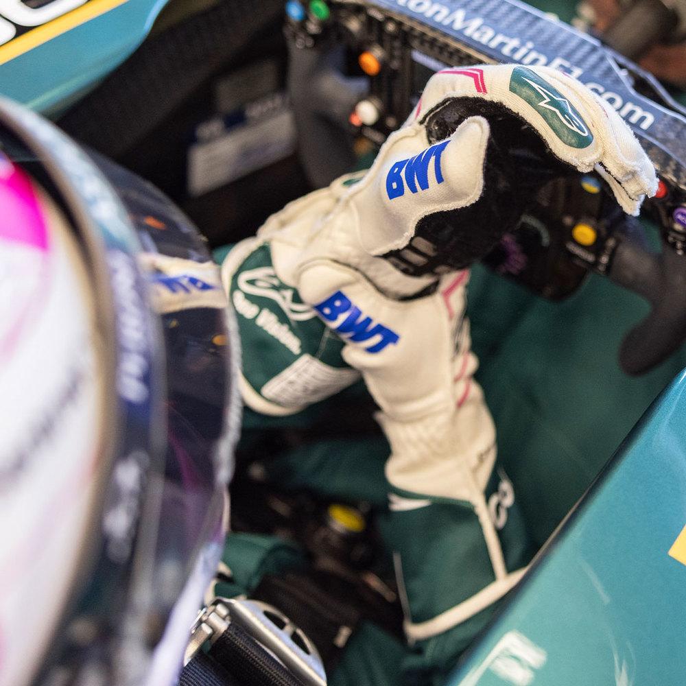 Sebastian Vettel 2021 Framed Signed Race-worn Gloves - Spanish GP