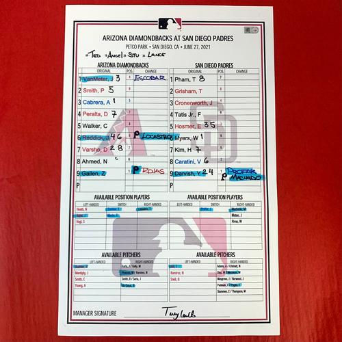 Photo of Game-Used Lineup Card - Zac Gallen vs. Yu Darvish, ARI @ SD 6/27/2021