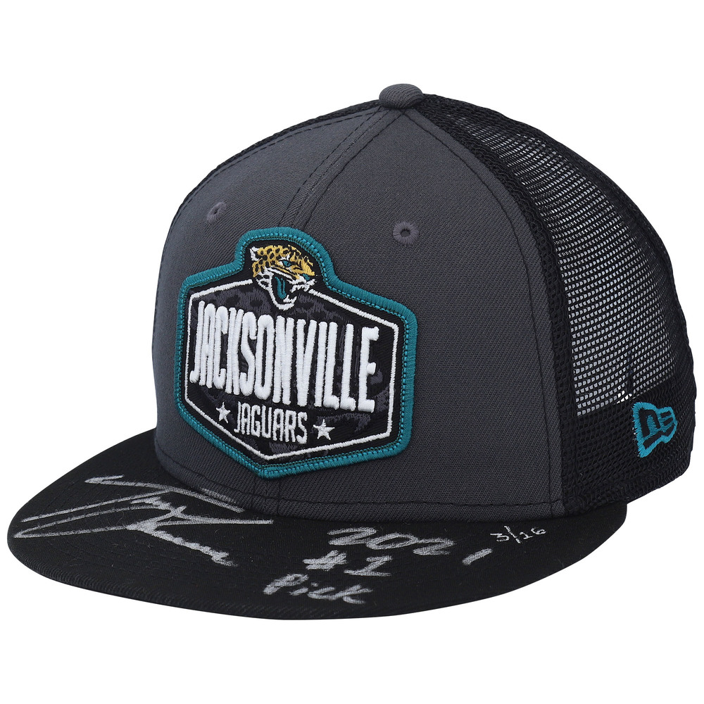 Trevor Lawrence Jacksonville Jaguars Autographed New Era 2021 NFL Draft Trucker Cap with