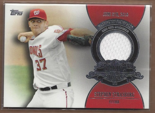 Photo of 2013 Topps Making Their Mark Relics #SS Stephen Strasburg -- Nationals post-season