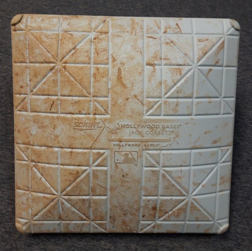 Photo of Authenticated Game Used Base - August 30, 2014. Derek Jeter's Final Career MLB Series in Toronto. Aaron Sanchez recorded his 1st MLB Save in the game  (1st Base for Innings 1 to 5)