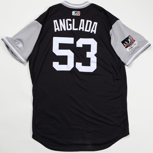 "Photo of Zach ""Anglada"" Britton New York Yankees Game-Used Jersey 2018 Players' Weekend Jersey"
