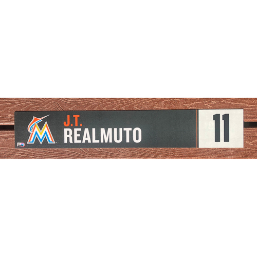 Photo of Game-Used Locker Tag: J.T. Realmuto