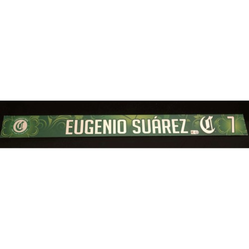 Eugenio Suarez -- Game-Used Locker Name Plate -- 2019 St. Patrick's Day