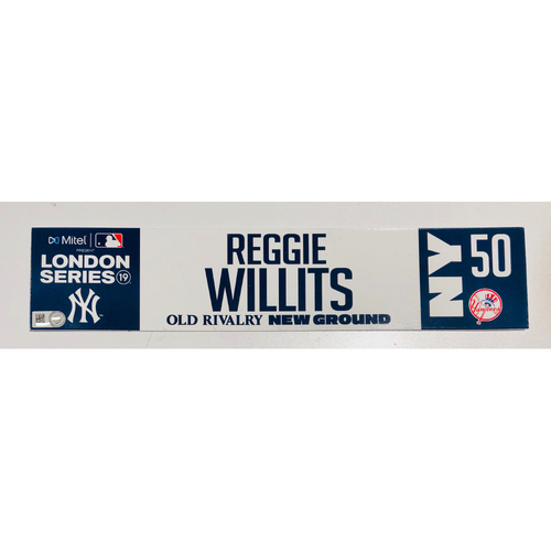 Photo of 2019 London Series - Game Used Locker Tag - Reggie Willits, New York Yankees vs Boston Red Sox - 6/30/2019