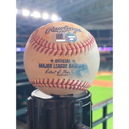 Photo of Game-Used Baseball Astros vs Angels: Jose Suarez to George Springer (Single to 3B) - 7/7/2019