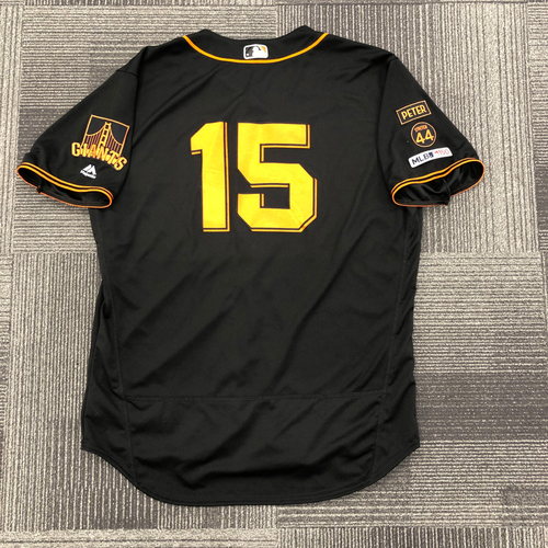 "Photo of 2019 Game Used Home Alternate - Black ""SF"" Jersey worn by #15 Bruce Bochy on 8/31/19 vs SD - FINAL SEASON - size 52"