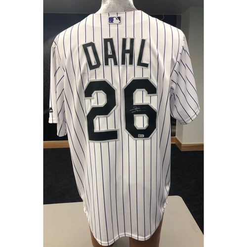 Photo of Colorado Rockies David Dahl Autographed Jersey: Home White
