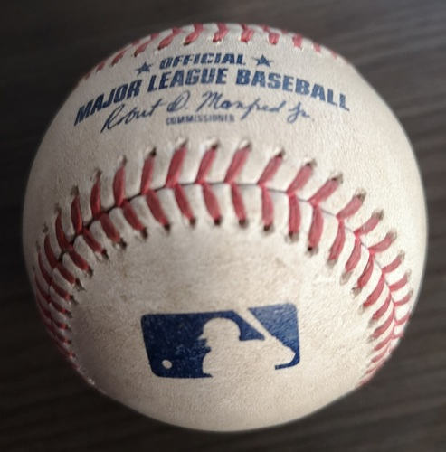 Photo of Authenticated Game Used Baseball: Single by George Springer against Clay Buchholz (Aug 31, 19 vs HOU). Top 3.