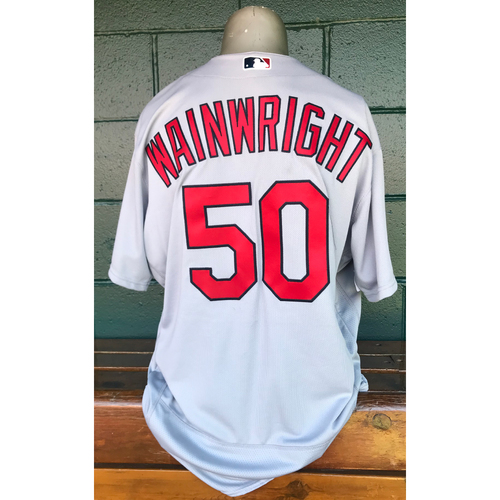 Cardinals Authentics: Team Issued Adam Wainwright Road Grey Jersey