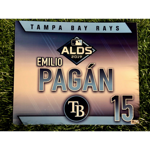 Photo of Game Used ALDS Locker Tag: Emilio Pagan - October 7, 2019 v HOU