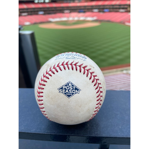 Photo of Cardinals Authentics: Game Used Pitched Baseball by Sean Doolittle to Paul Goldschmidt and Marcell Ozuna *Goldschmidt Ground out, Ozuna Foul*