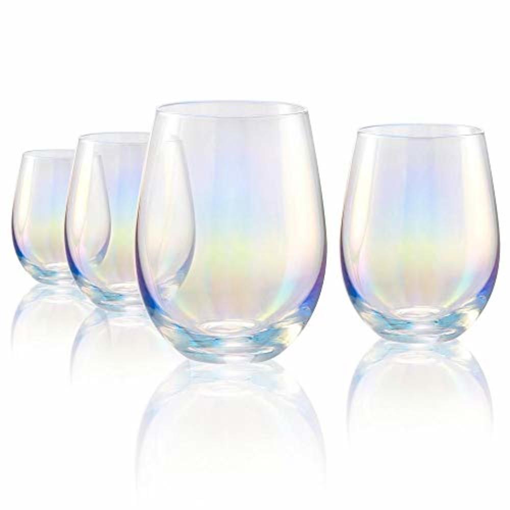 Photo of Iridescent Rainbow Stemless Wine Glasses