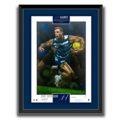 Photo of 1100mm x 890mm Joel Selwood lithograph, signed.