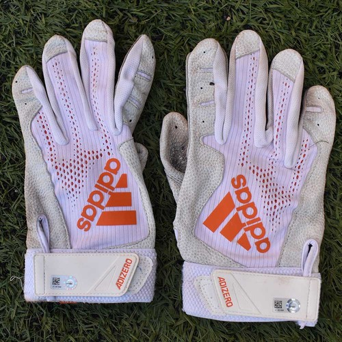 Photo of Team Issued Batting Gloves - White and Orange Adidas - 2020 Season