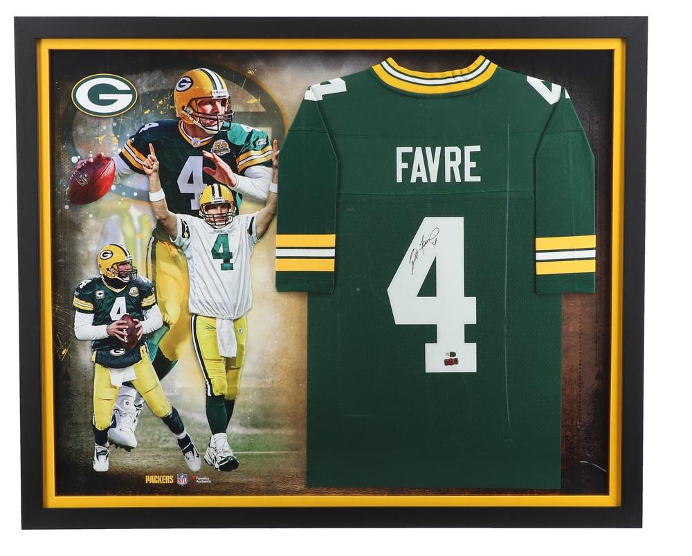 Brett Favre Green Bay Packers Signed Framed Jersey Collage