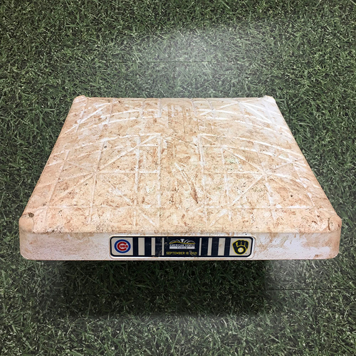 Photo of Game-Used 09/18/21 Base - CHC @ MIL - 1st Base, Innings 1-9 - Manny Pina 2 HR (11,12); Eduardo Escobar HR (28); Jace Peterson HR (6); Brewers Clinch Postseason Berth for 4th Consecutive Season