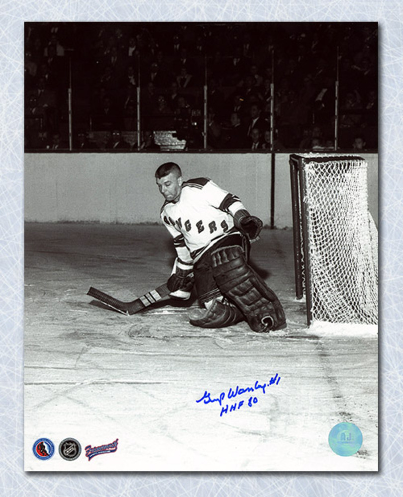Gump Worsley New York Rangers Autographed Action 8x10 Photo