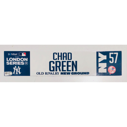 2019 London Series - Game Used Locker Tag - Chad Green, New York Yankees vs Boston Red Sox - 6/30/2019