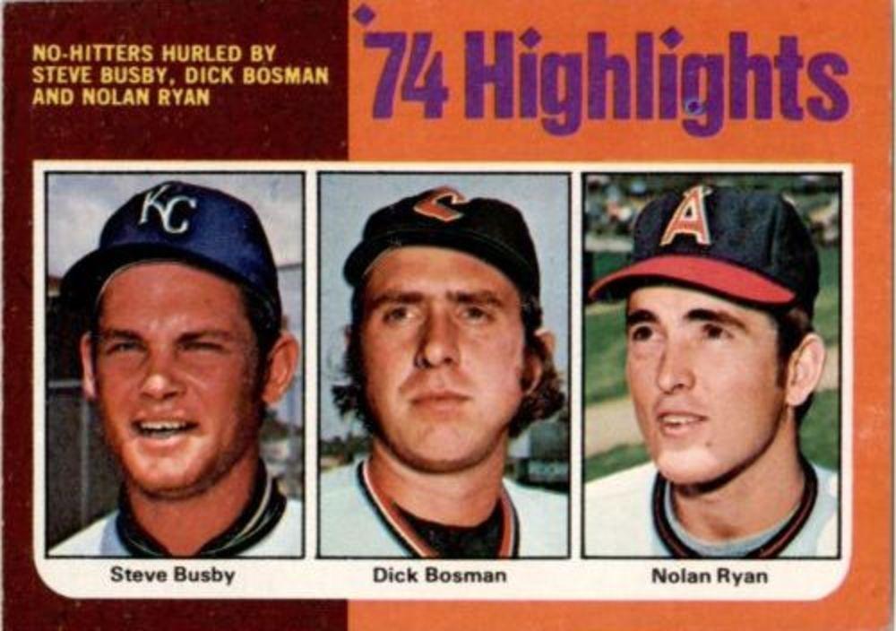 1975 Topps #7 Ryan/Busby/Bosman HL