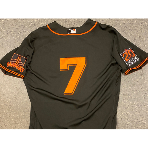 Photo of 2020 Game Used Black Home Alt Jersey worn by #7 Donovan Solano on 8/1 vs. TEX (2-5, 3 RBI) & 9/26 vs. SD