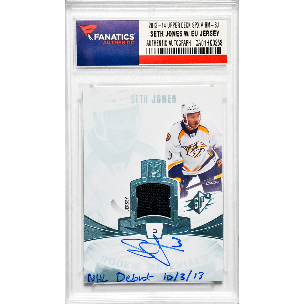 Seth Jones Nashville Predators Autographed 2013-14 Upper Deck SPX Rookie Materials #RM-SJ Card with NHL Debut 10/3/13 and Containing a Piece of Event Used Jersey
