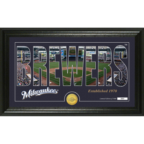 """Photo of Serial #1! Milwaukee Brewers """"Silhouette"""" Panoramic Bronze Coin Photo Mint"""