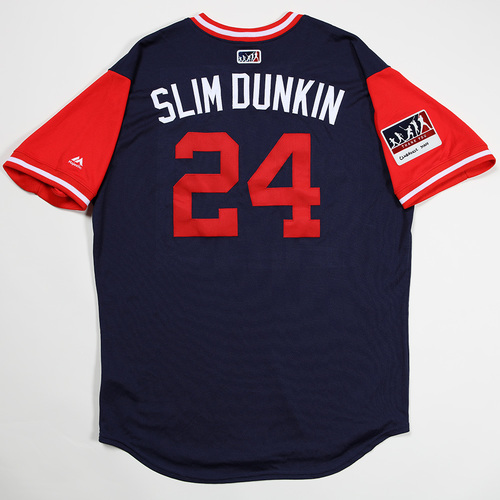 "Photo of David ""Slim Dunkin "" Price Boston Red Sox Game-Used 2018 Players' Weekend Jersey"