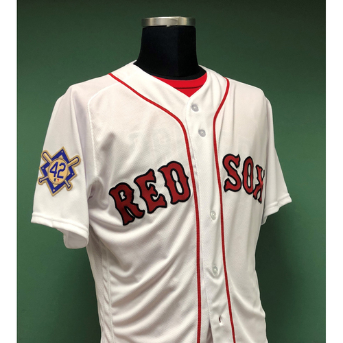 Photo of Red Sox Foundation - Andy Barkett Game-Used and Autographed 2018 Jackie Robinson Day Jersey
